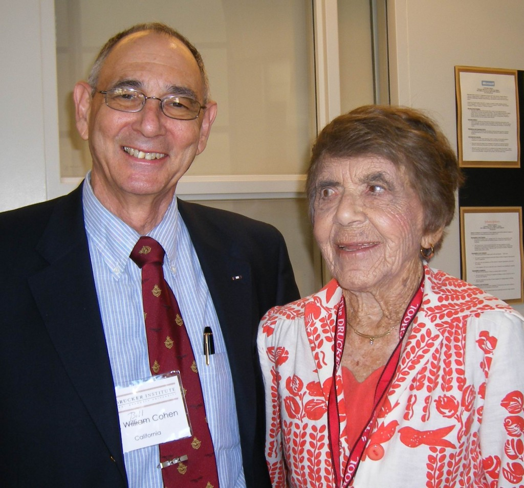 Bill Cohen with Doris Drucker at the Inaugural Drucker Society Global Symposium at which he spoke about Peter Drucker who was Bill's professor
